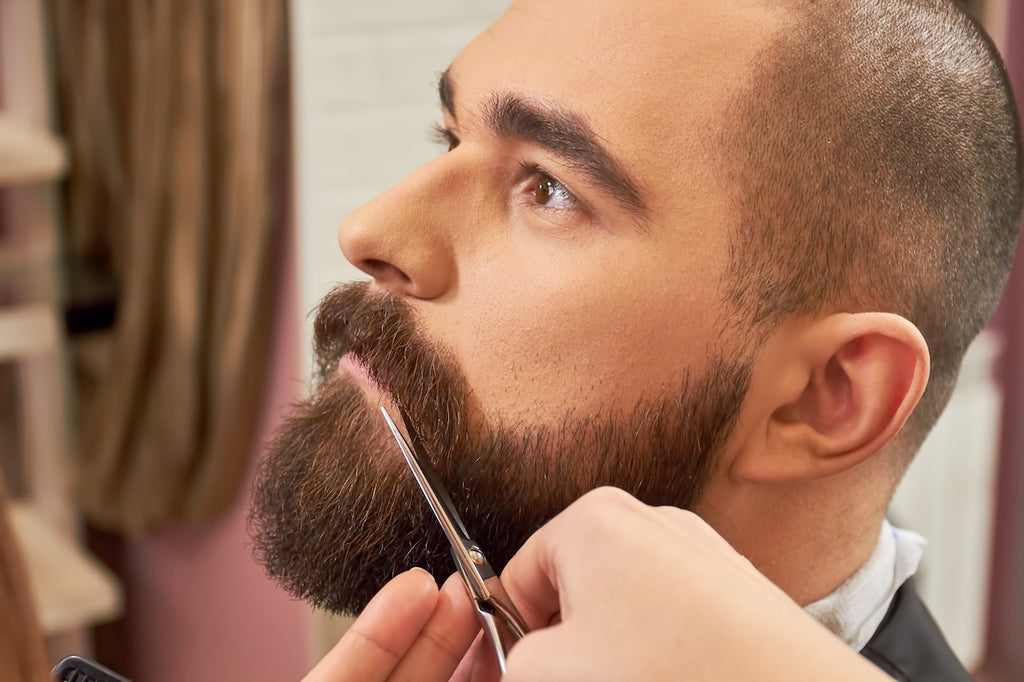 Image showing how to trim a beard with scissors