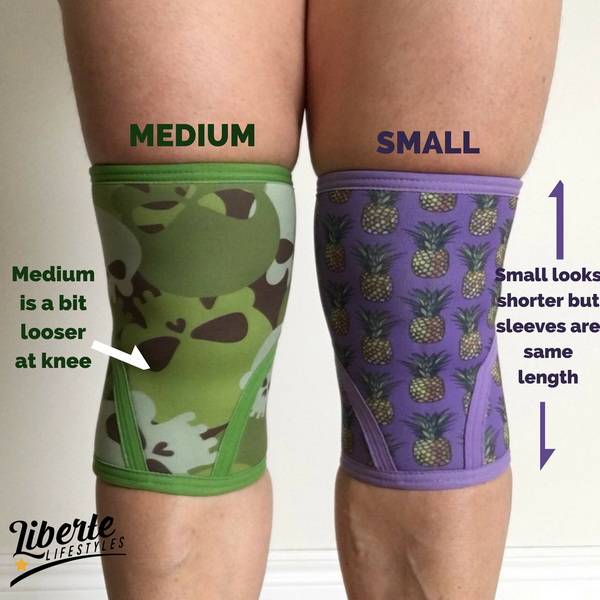 Liberte Lifestyles Knee Sleeve Sizing Comparison S and M Front
