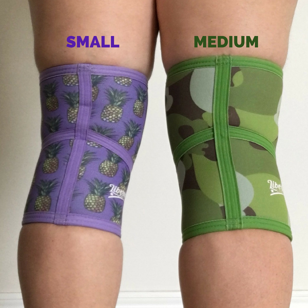 Liberte Lifestyles Knee Sleeve Sizing Comparison S and M Back