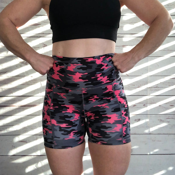 "Liberte Lifestyles 5"" Lifestyles Shorts Pretty in Camo High Rise Pockets"