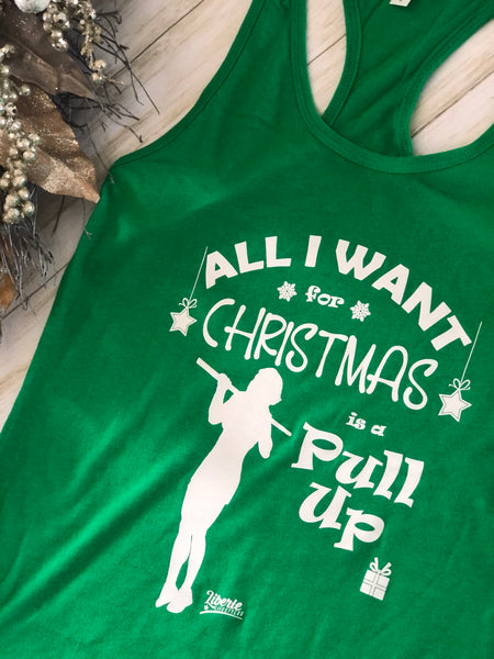 Liberte Lifestyles All I want for Christmas is a Pullup Womens Racerback Tank CrossFit Gym