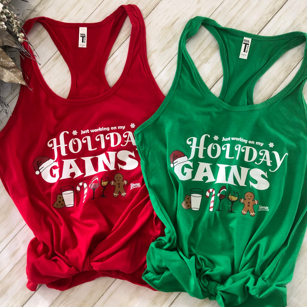 Liberte Lifestyles Just Working on my Holiday Gains Womens Racerback Tank