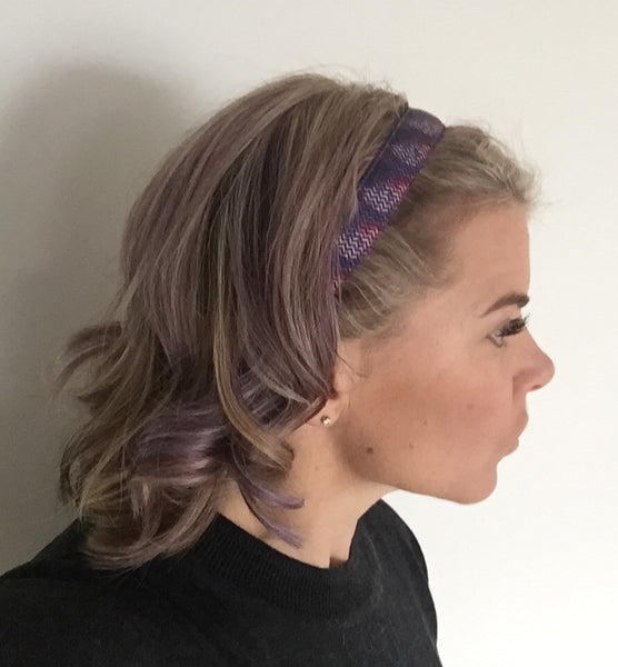 Liberte Lifestyles NonSlip Headband Purple Chevron Galaxy Wearing