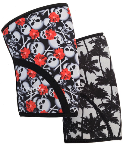 Liberte Lifestyles Reversible Knee Sleeves Hibiscus Skull Palm Beach Print Pair