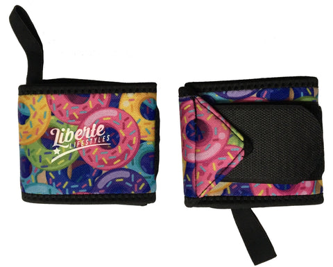 Liberte Lifestyles Wrist Wraps Donut Print Pair Closed