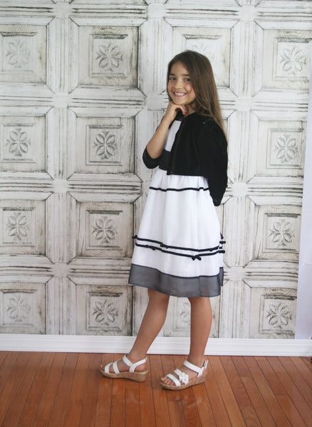 White & Black Striped Cotton Dress with Velour Jacket