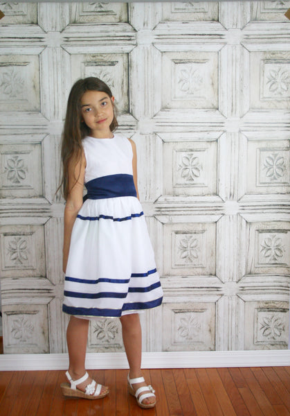 White Dress with Navy Stripes & Matching Velour Jacket