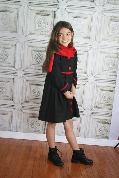 Black Wool Coat with Red Scarf