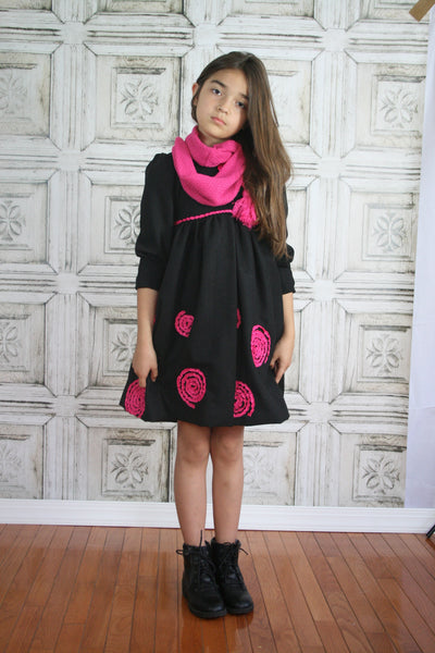 Winter Black Wool Coat with Matching Pink Scarf