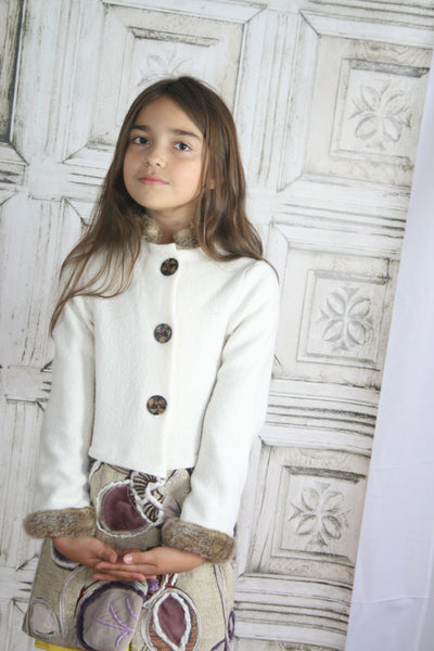 Coat with Faux Fur Trim