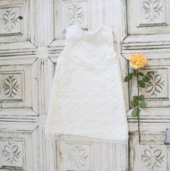 Sleeveless White Flower Girl Dress