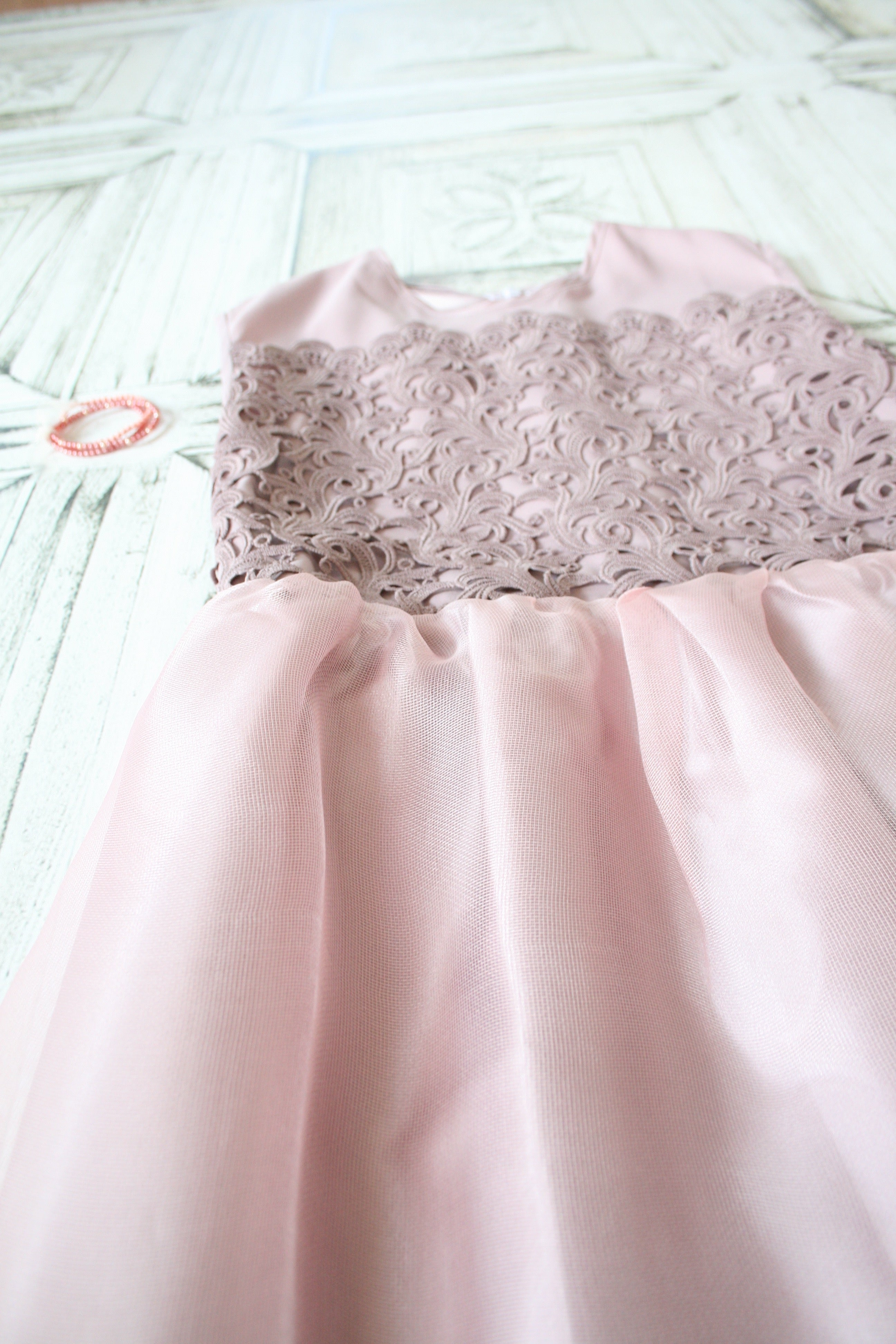 Blush Pink Lace Flower Girl Dress Kamari Couture