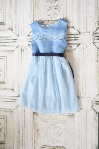 Sky Blue Flower Girl Dress