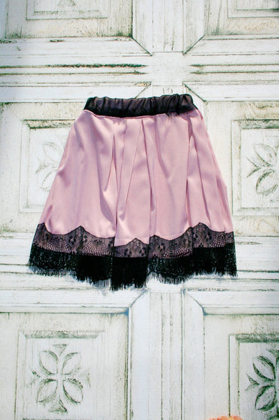 Silk Skirt with Lace Edge in Primrose Pink