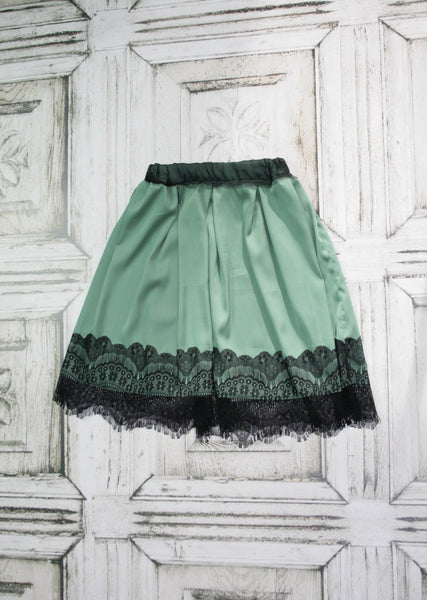 Silk and Lace Pistachio Skirt