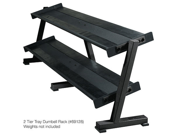 York Barbell 2 & 3 Tier Tray Dumbbell Racks - 2 Tier Tray Dumbbell Rack - Holds 10 pairs - Strength Fitness Outlet