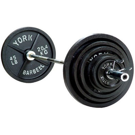 "York Barbell 300 lbs 2"" Standard Cast Iron Olympic Set - Strength Fitness Outlet - 1"