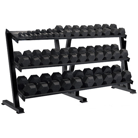 York Barbell 5-80 lbs (16 pairs) Rubber Coated Hex Dumbbells Set with Rack