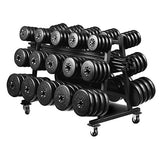 York Barbell (20) 40 lbs Aerobic Weight Set with Mobile Rack