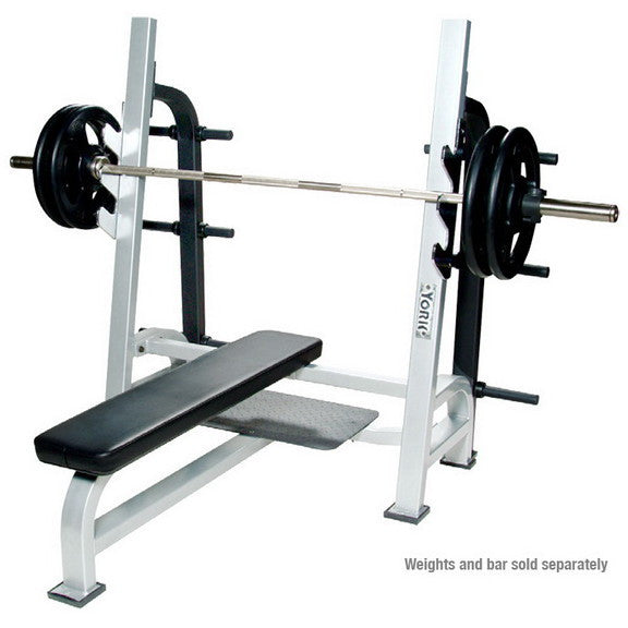 York Barbell Olympic Flat Bench with Gun Racks & Weigth Storage - White - Strength Fitness Outlet