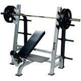 York Barbell Olympic Incline Bench with Gun Racks & Weight Storage - Silver - Strength Fitness Outlet