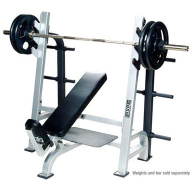 York Barbell Olympic Incline Bench with Gun Racks & Weight Storage - White - Strength Fitness Outlet