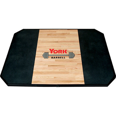 York Barbell Platforms - Solid Red Oak Free Standing Platforms & Metal Frame with logo - Strength Fitness Outlet