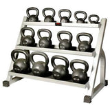 York Barbell Hercules Cast Iron (5-80 lbs) 13-Kettlebell Set with Rack - Strength Fitness Outlet