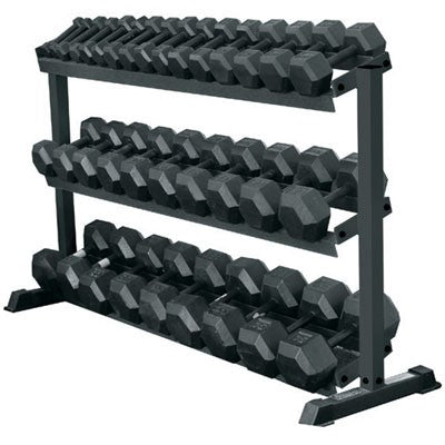 York Barbell 5-75 lbs (15 Pairs) Rubber Coated Hex Dumbbells Set  with Rack