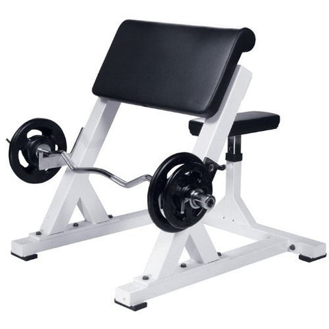 York Barbell Preacher Curl - White - Strength Fitness Outlet