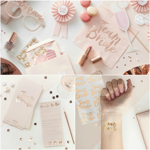 Team Bride Rose Gold & Pink Hen Party Collection