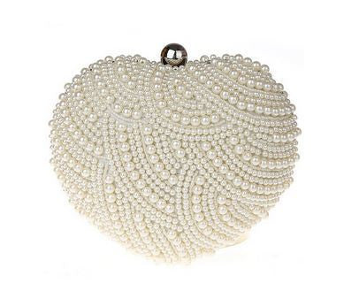 Anna Pearl Heart Bridal Clutch Medium