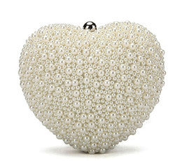 Ava Heart Pearl Bridal Clutch Large