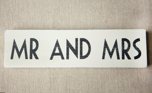 Mr and Mrs Wooden Sign