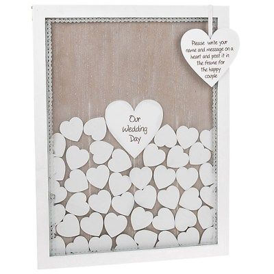 Heart Drop Wooden Frame Alternative Guest Book