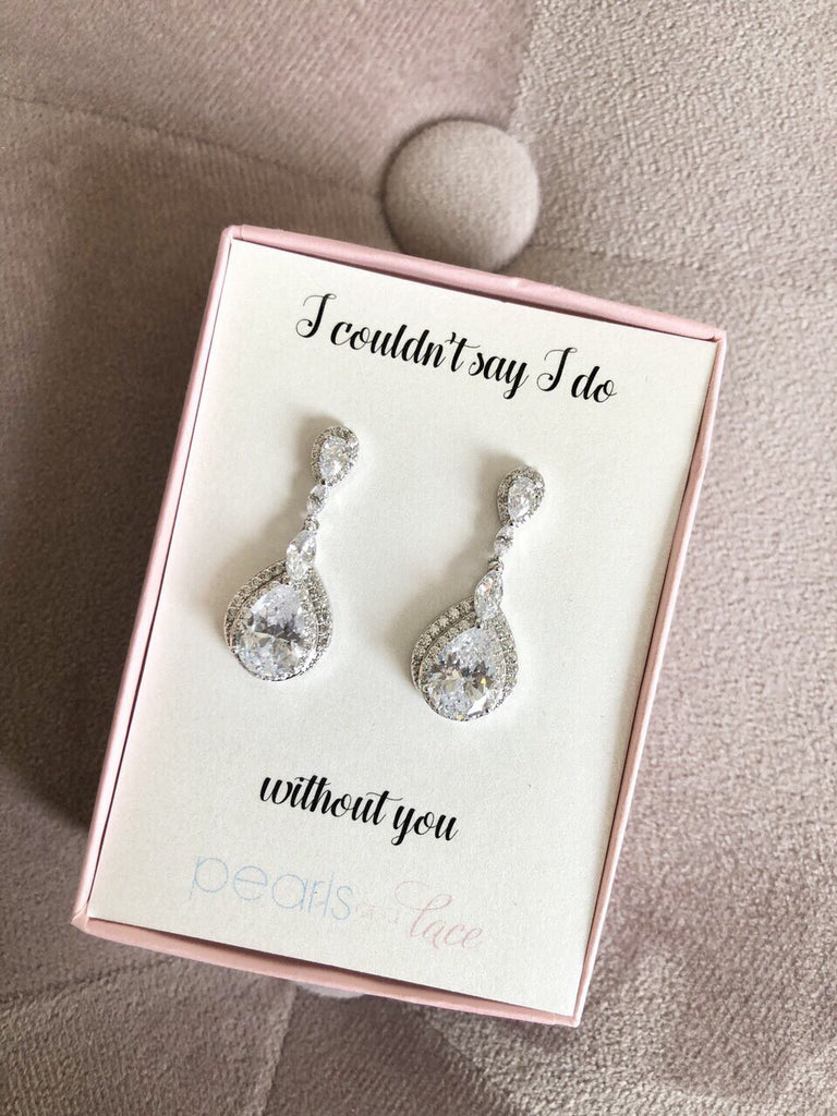I Couldn't Say I Do without You Silver Drop Earrings