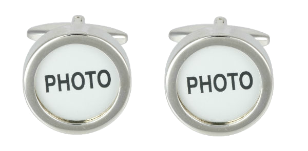 Photo Insert (Memorial) Rhodium Plated Cufflinks