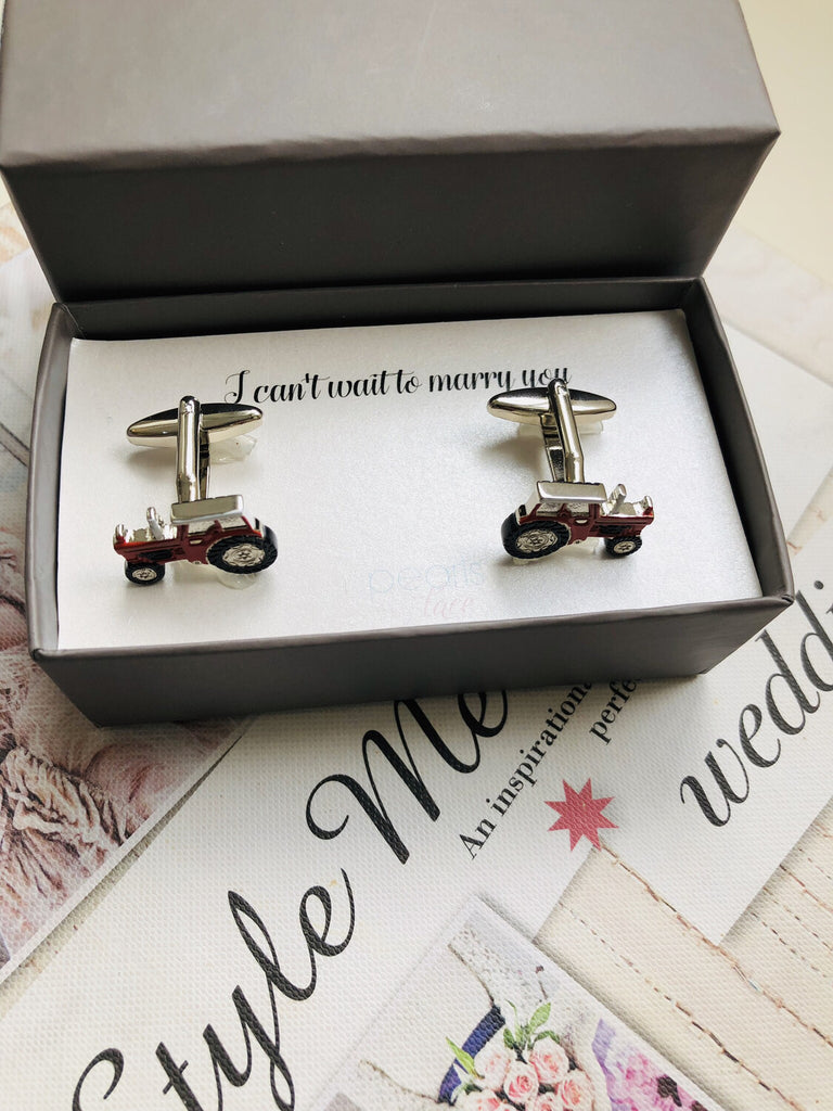 Red Tractor Rhodium Plated Cufflinks - Groom Gift