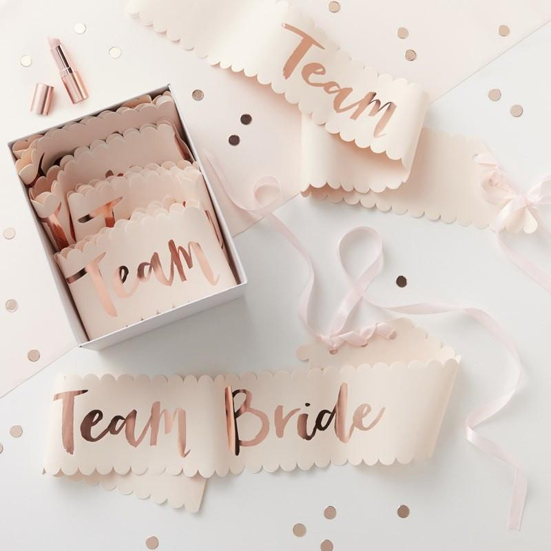 Pink and Rose Gold Foiled Team Bride Sashes - Team Bride