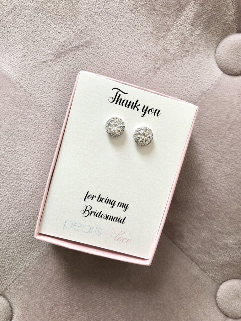 Thank you for Being My Bridesmaid Silver Stud Earrings