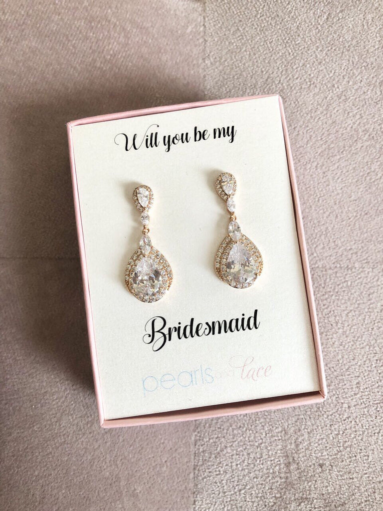 Will you be My Bridesmaid? Rose Gold Drop Earrings