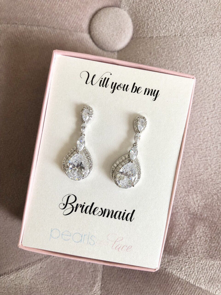 Will you be My Bridesmaid? Silver Drop Earrings