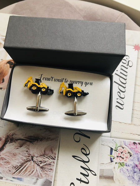 Yellow & Black Digger Cufflinks- Groom Gift