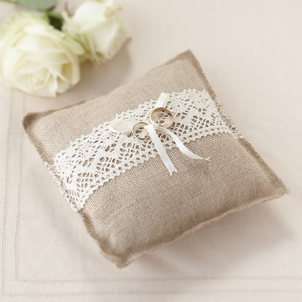 Hessian Ring Cushion - Rustic Wedding