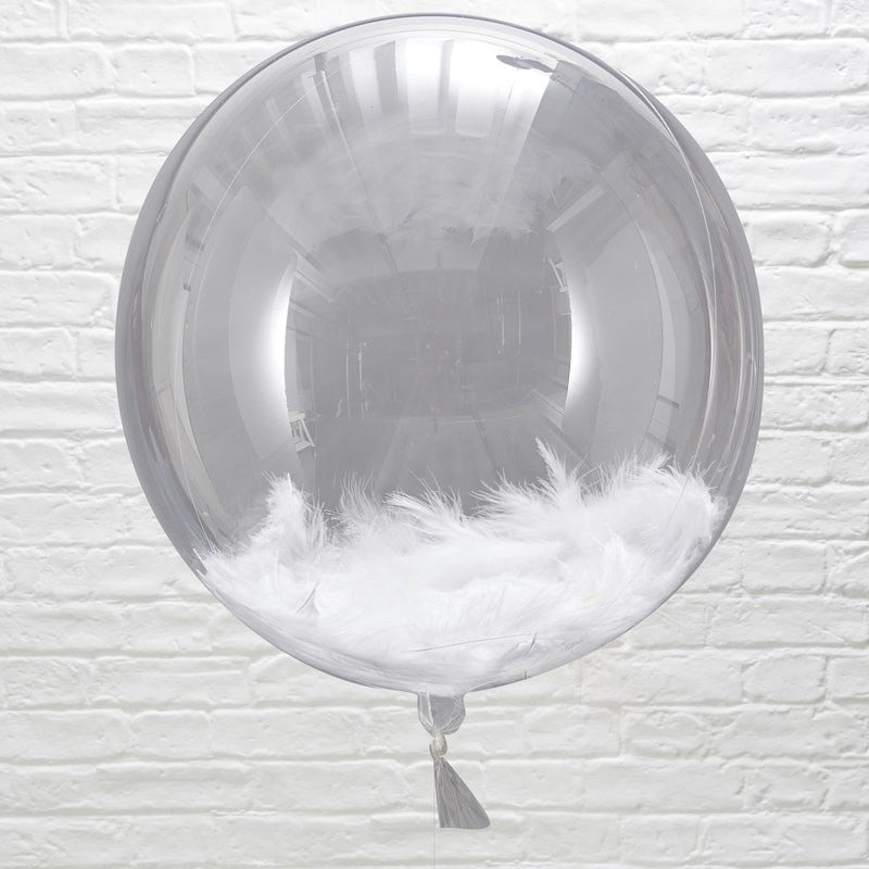 White Feather Filled Orb Balloons - Beautiful Botanics