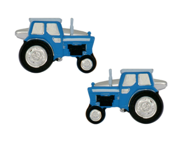 Blue Tractor Rhodium Plated Cufflinks - Groom Gift