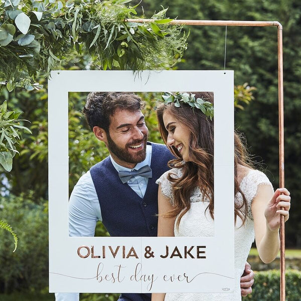 White And Rose Gold Personalised Wedding Photo Booth Frame