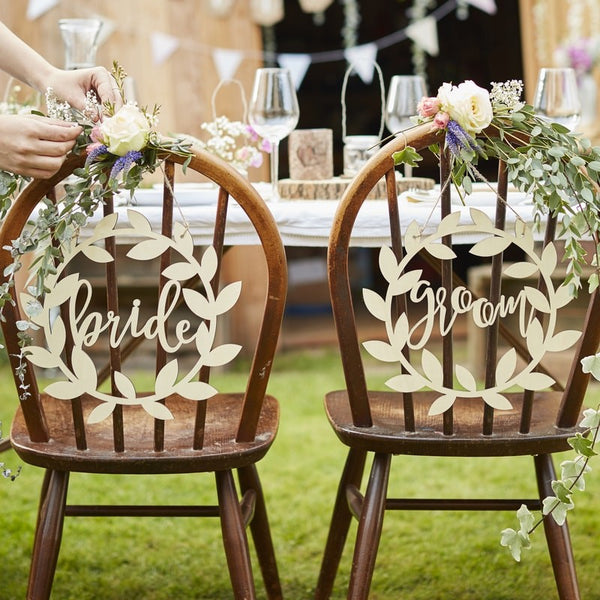 Wooden Bride & Groom Chair Signs - Rustic Country
