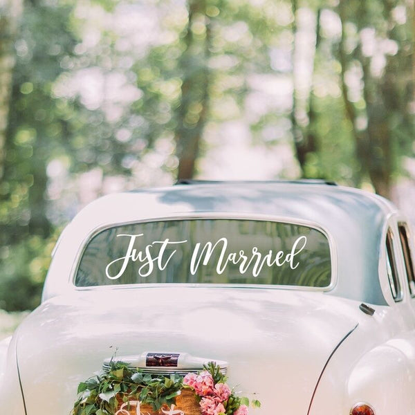 Just Married Gold Car Sticker