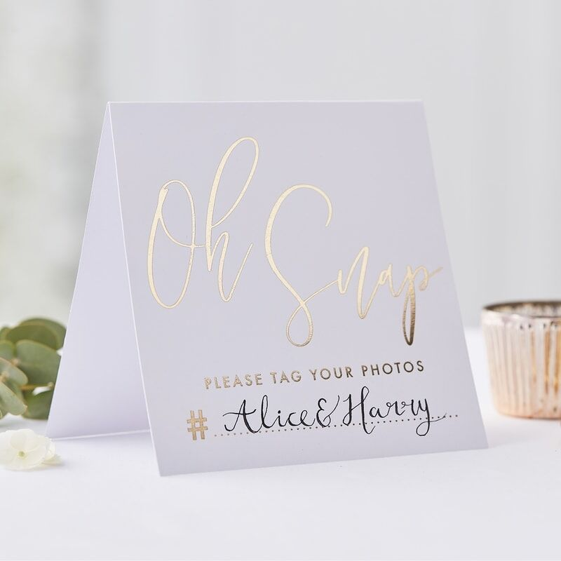 Gold Instagram Wedding Tent Cards